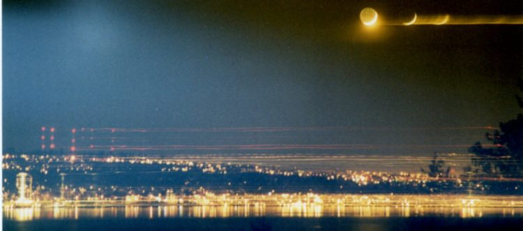 The moon over Lake Washington